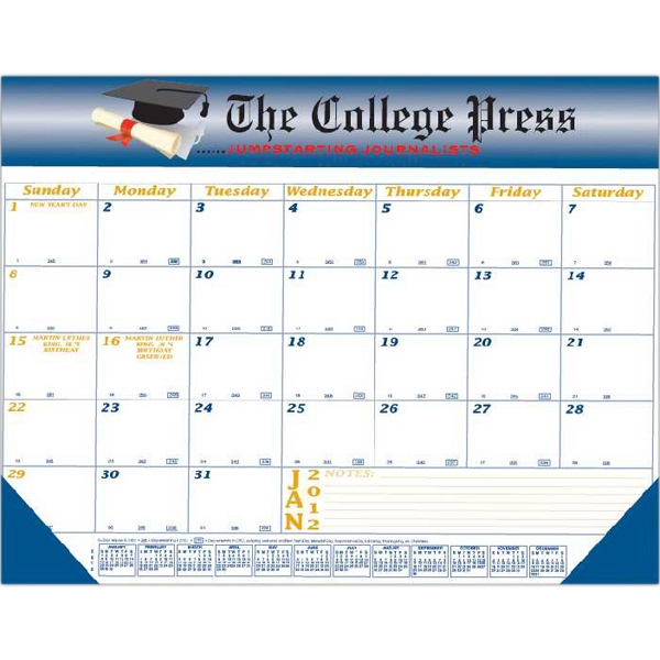 "Desk Pad Calendar With Vinyl Header, Two Corners And Chipboard Backing, 22"" X 17"" Photo"