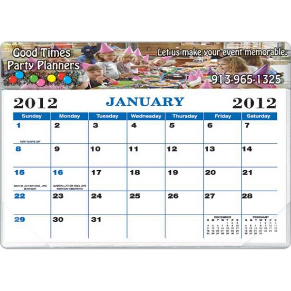 "Black And Blue Calendar Colors - Desk Calendar Pad With Full Color Vinyl Header And Backing 11 1/2"" X 8 3/4"" Photo"