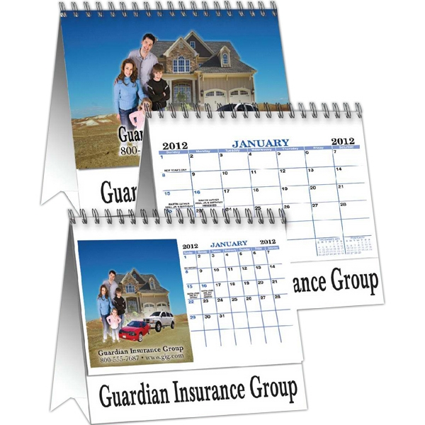 Custom Photo Easel Desk Calendar, Wire-o-bound, 12 Month Calendar Photo