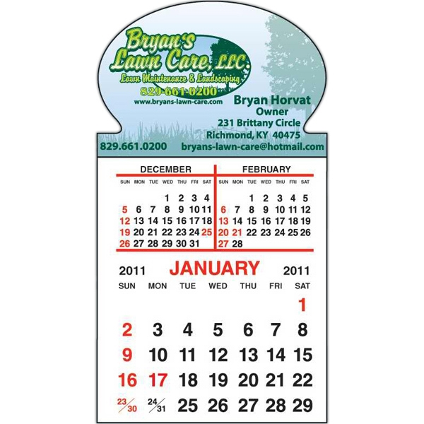 Spider Tac - Oval Shape - Repositionable Adhesive Header 12 Month Tear-off Calendar Pad Photo