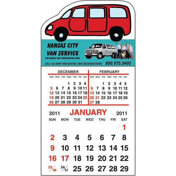 Spider Tac - Van Shape - Repositionable Adhesive Header 12 Month Tear-off Calendar Pad Photo