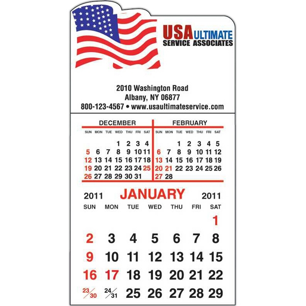 Spider Tac - Flag Shape - Repositionable Adhesive Header 12 Month Tear-off Calendar Pad Photo