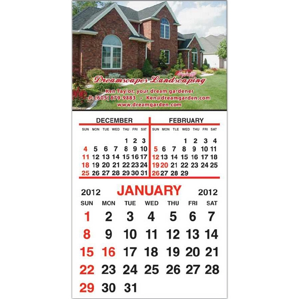 "Standard Shape Magnet With 12 Month Calendar Pad, 3"" X 5 3/4"" Photo"