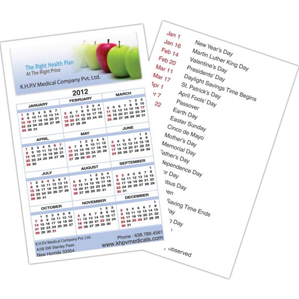 Calendar Card With Full Color Imprint And Clear Coated On Both Sides Photo