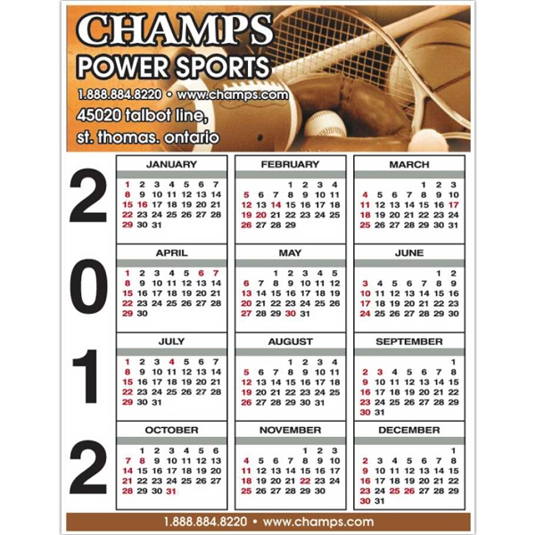 "8 1/2"" X 11"" - Calendar Card With Full Color Imprint And Clear Coated On One Side Photo"