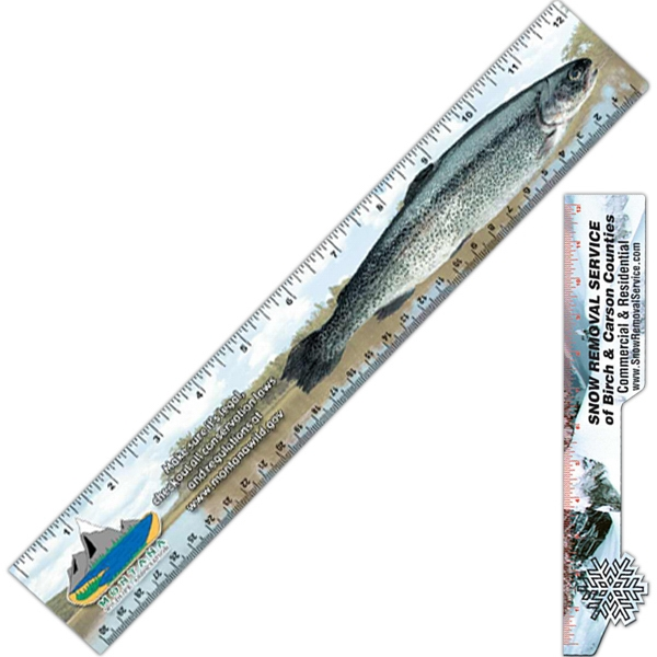 "Card-stock 12"" Ruler, Laminated On Both Sides, Cutout Of 2"" X 12 1/2"" Photo"