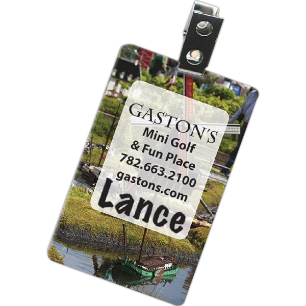 Plastic 30 Mil Name Badge Imprinted Full Color On White Photo