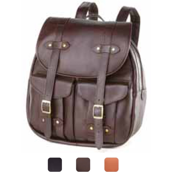 Leather Backpack/rucksack With Buckle Front Dual Pockets Photo