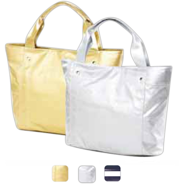 Wellie - Shiny Coated Canvas Travel Tote Bag Photo