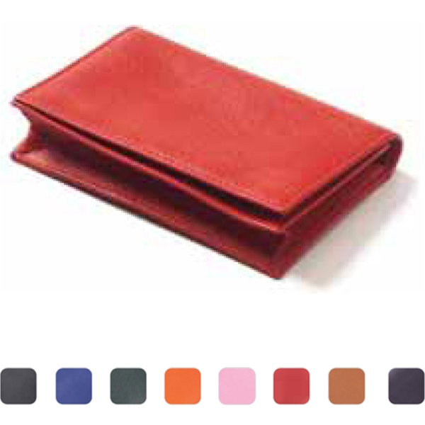 Slim Leather Id Wallet With Main Gusseted Pockets And Full Size Pocket On Back Photo