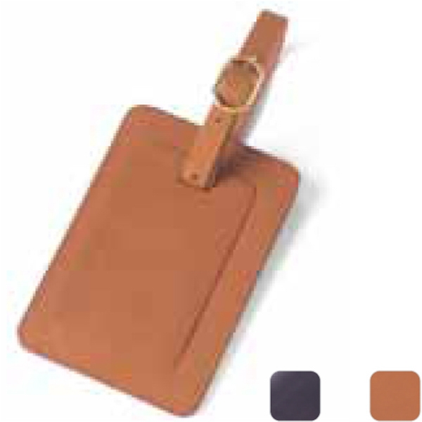 Rectangle Leather Luggage Tag With Privacy Flap Photo