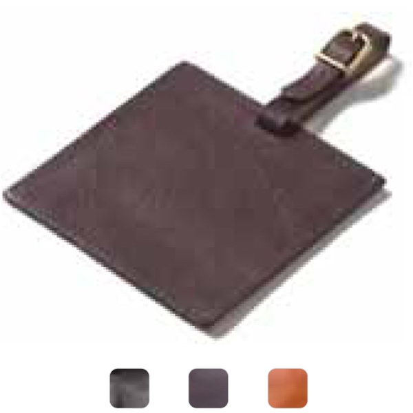 Square - Leather Luggage Tag With Privacy Flap And Easy Insert Slot For Business Cards Photo