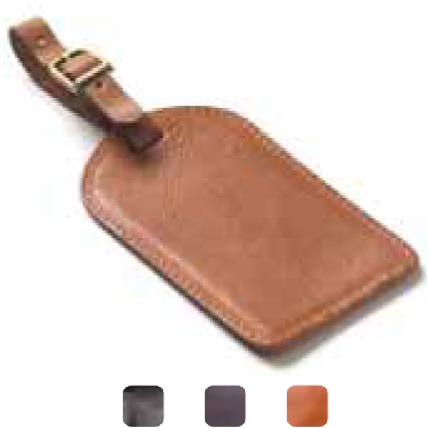 Rectangle - Leather Luggage Tag With Privacy Flap And Easy Insert Slot For Business Cards Photo