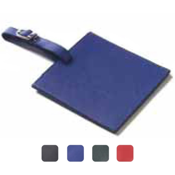 Square, Colored Leather, Oversized Luggage Tag With Large Decorating Area Photo