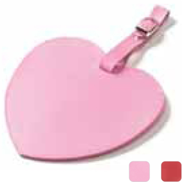 Heart Shaped, Colored Leather Oversized Luggage Tag With Large Decorating Area Photo