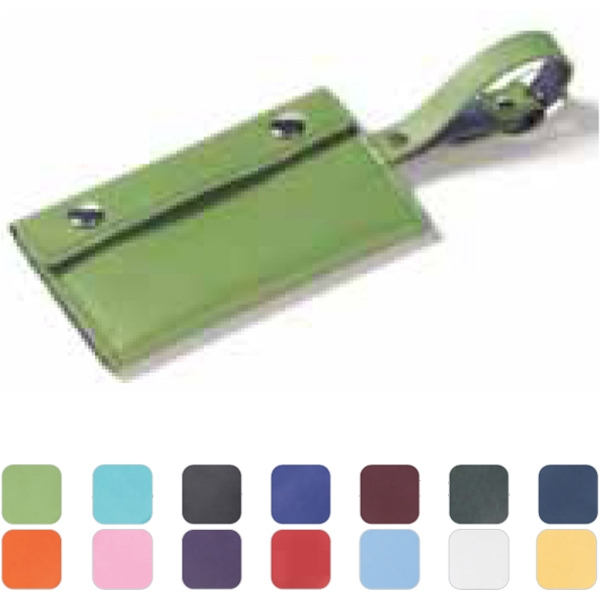 Clava(r) - Leather Luggage Tag With Wrap Around Detail Conceals Business Card Contact Info Photo