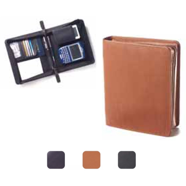 Super Clutch - Leather Clutch, Zip Opens To Jotter, Cell Phone Pocket, Pda Slot And Pen Loops Photo