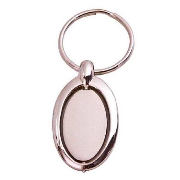 Die Cast Zinc Keychain- Oval w/ Swivel Center - 52x35x7MM