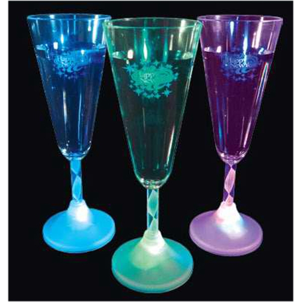 Happy New Year LED champagne flutes with spiral stem