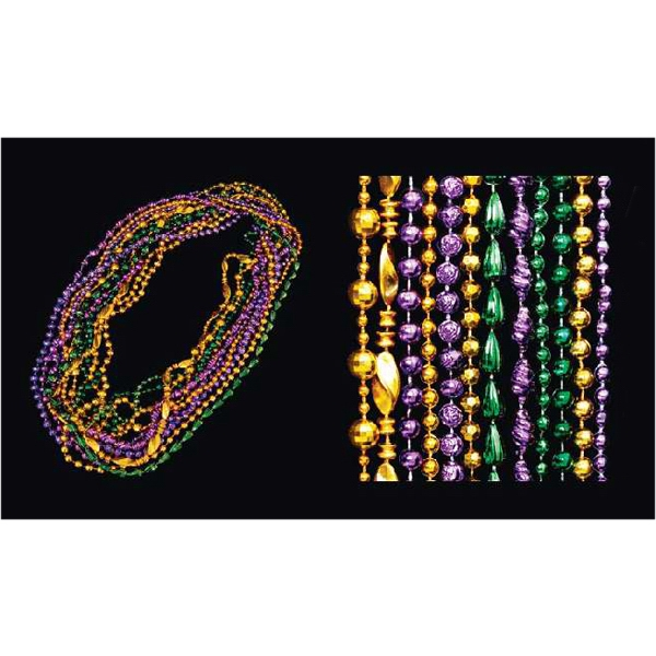 Purple/jade/gold assorted style Mardi Gras beads