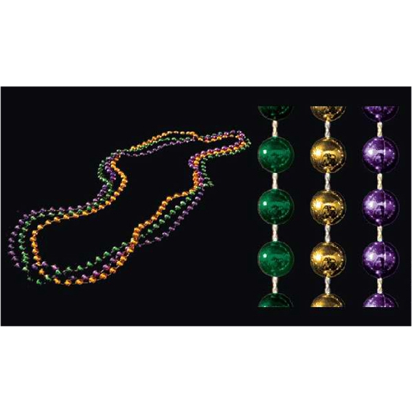 7mm purple/jade/gold round Mardi Gras beads