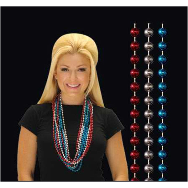 Stock Red/white/blue 10mm Round Non Flashing Bead Necklace. Blank Photo