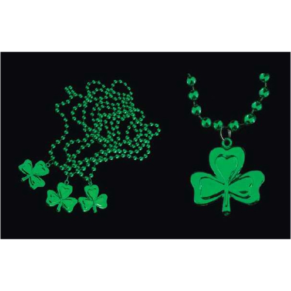 Green Mardi Gras beads with shamrock medallion