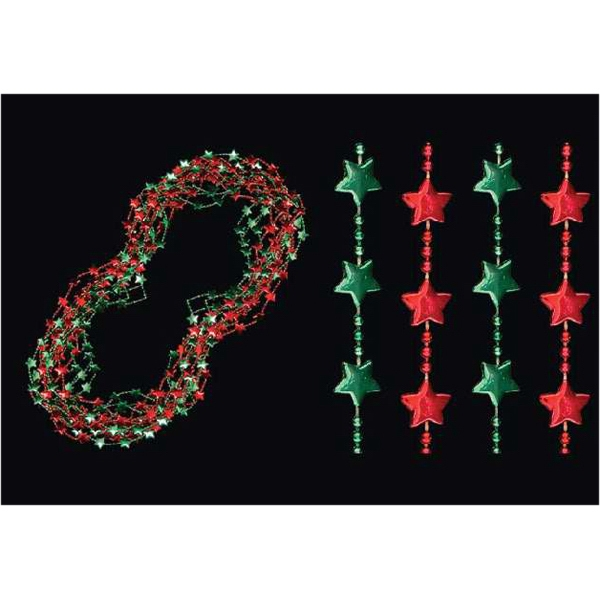 Green and red Christmas star Mardi Gras beads