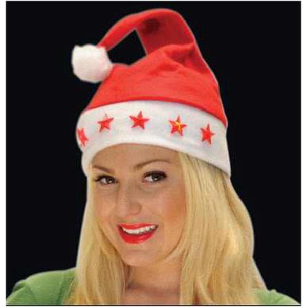 Light up Santa hat with stars