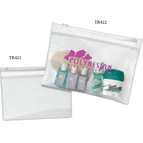 Small Pouch - Clear Pvc Flat Mesh Travel Pouch With White Accent, Closeout Photo