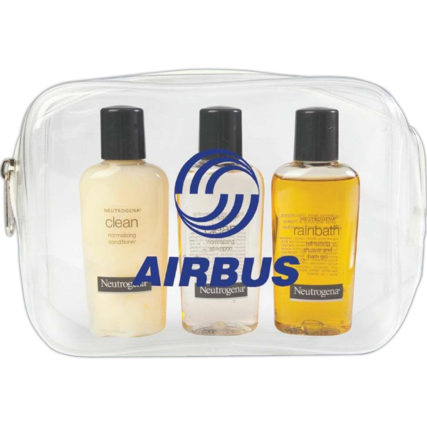 Neutrogena - Clear Bag With Zipper, Includes 2 Oz. Travel Size Shampoo, Conditioner And Bath Gel Photo