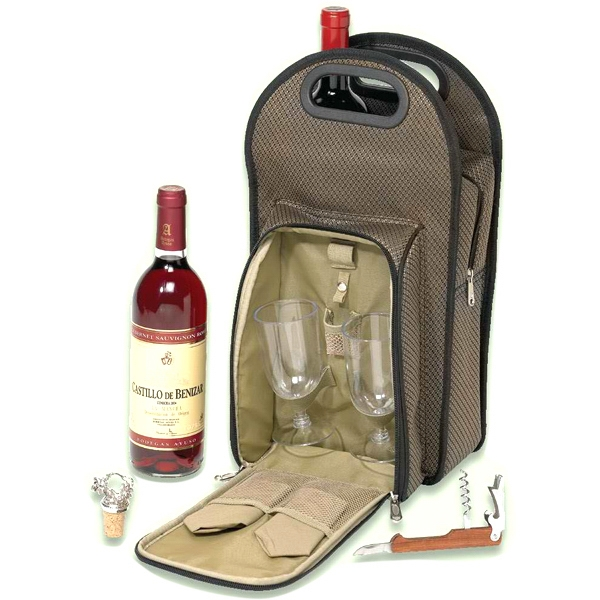 Picnic Wine Cooler Set For 2 Made With Dual Tone 1200 Denier Polyester And Pvc Photo