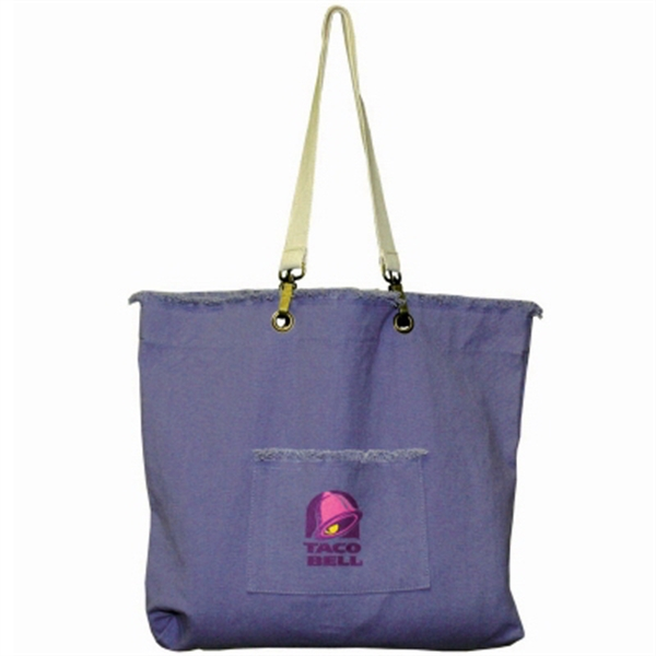 Campus - Cotton Canvas Tote Bag With Washed Finish And Frayed Edges Photo
