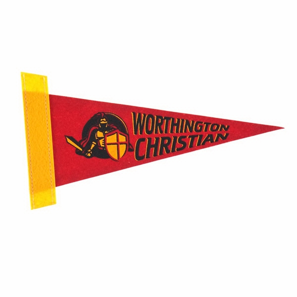 "4"" X 10"" Pennant, Felt Strip - Felt Pennant With Edge Strip Photo"