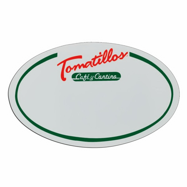 "3 1/4"" X 2"" - White Oval Shape Lightweight Plastic Badge Photo"