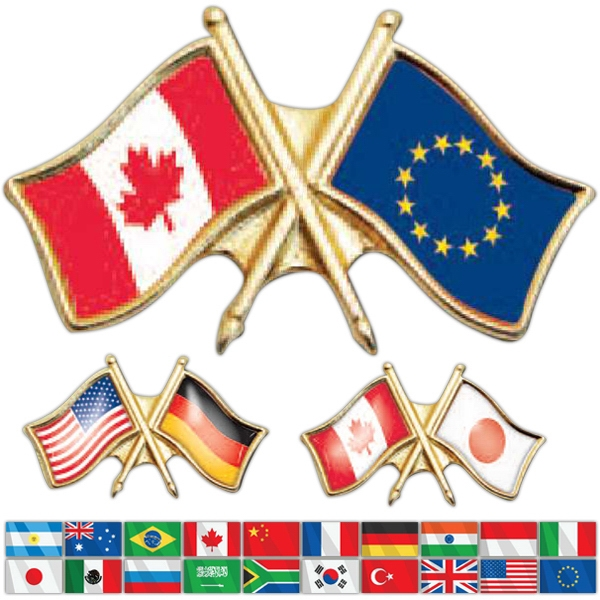 Cross-flag - Lapel Pin Displaying 2 Different Countries Flags Crossing Photo