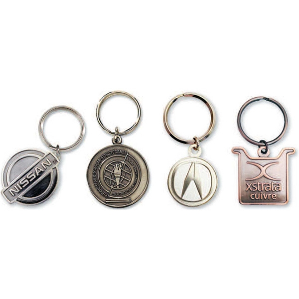"1 3/4"" - Imported Brass Die Struck Key Chain With 32 Mm Split Ring, 2mm Thickness Photo"