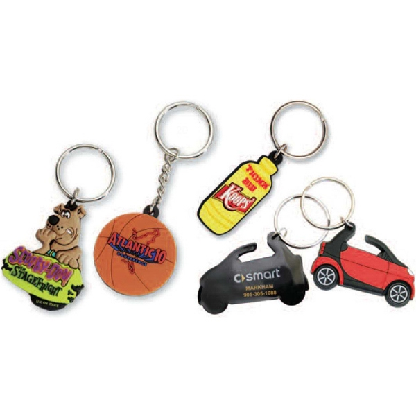 "1 1/2"" X 1 1/2"" - Imported Soft And Flexible 2d Pvc Key Chain With 30 Mm Split Ring Photo"
