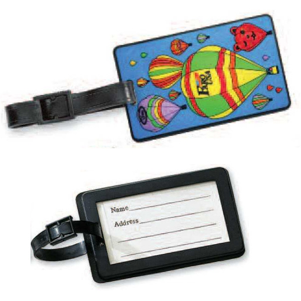 "Slip-in - Pvc, 2d, Bag Tag With 6"" Leather Black Strap. Thickness, 4mm Photo"