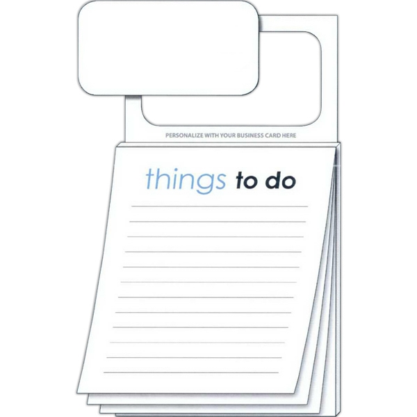 """things To Do"" Pad - Magnetic Scratch Pad With 50 Sheets And Magnetic Business Card Photo"