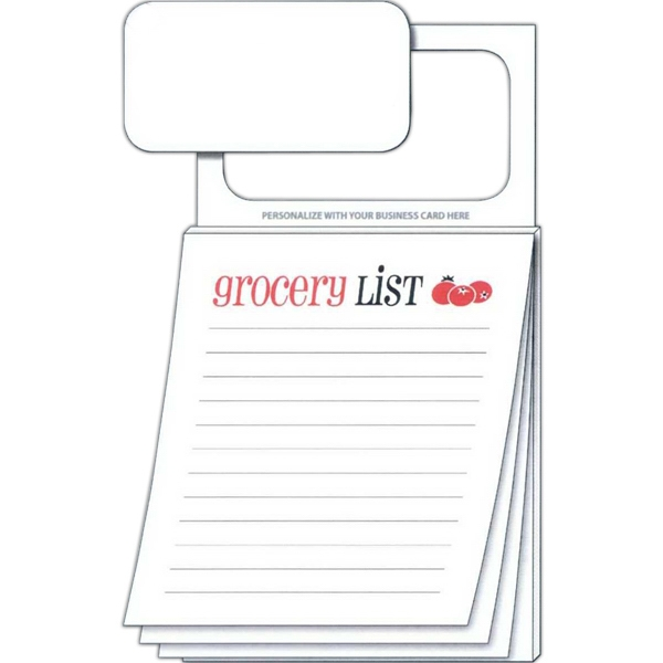 """grocery List"" Pad - Magnetic Scratch Pad With 50 Sheets And Magnetic Business Card Photo"
