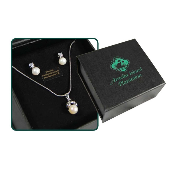 Bret Roberts (tm) - Cubic Zirconia And Freshwater Pearl Necklace And Earring Ensemble Photo