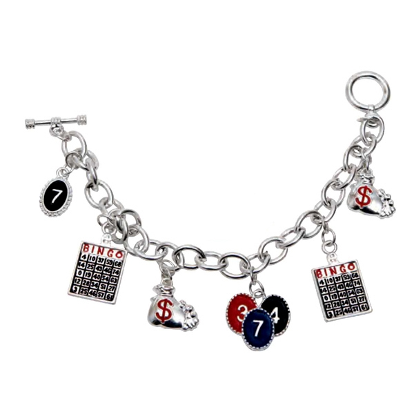 Bingo Charm Bracelet With Silver Plated Individual Metal Links Photo