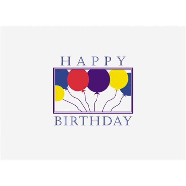 "Happy Birthday With Balloons In A Border - Everyday Birthday Note Card, 3 1/2"" X 5"" Photo"