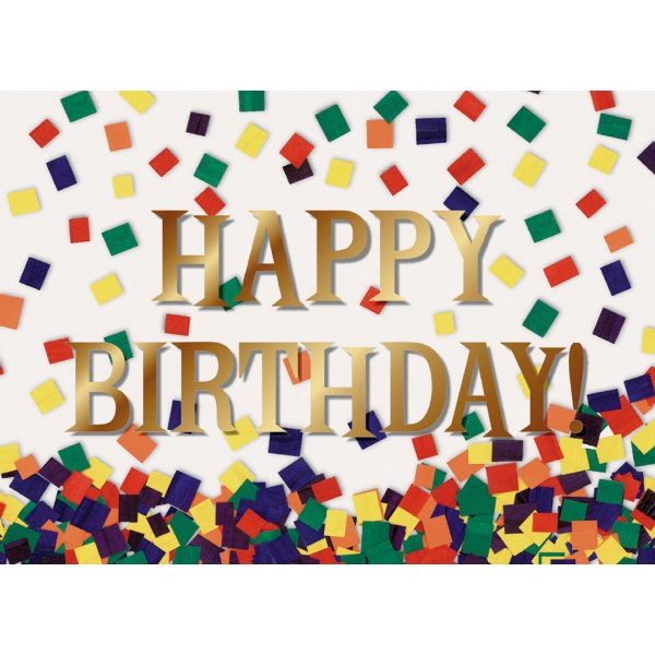 Happy Birthday With Confetti - Everyday Birthday Greeting Card With Stock Sentiment Inside Photo