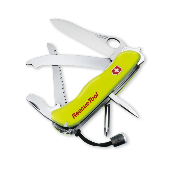 Rescuetool - Yellow - Multi-tool With Large-locking Blade, Philips Screw Driver And Windows Breaker Photo