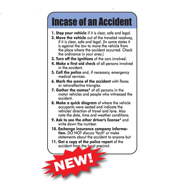 Laminated Driving Tips/safety Card, .015 Material Thickness Photo