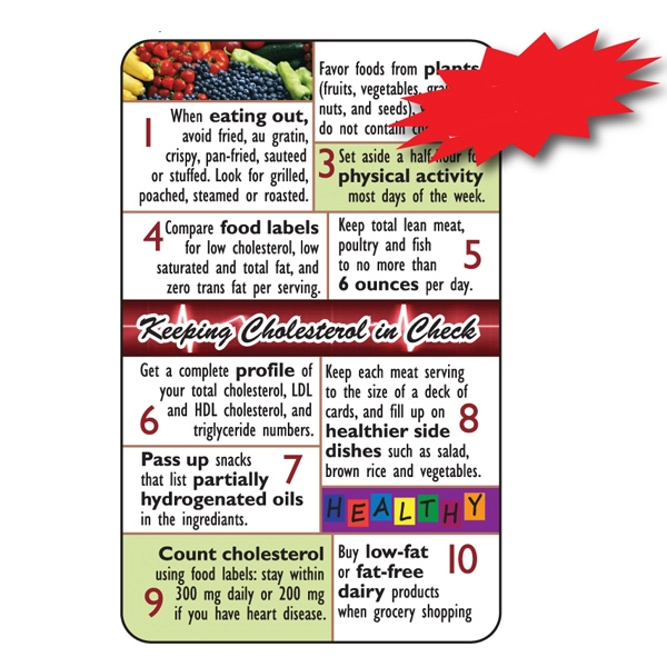 Laminated Health Tips/cholesterol, .015 Material Thickness Photo