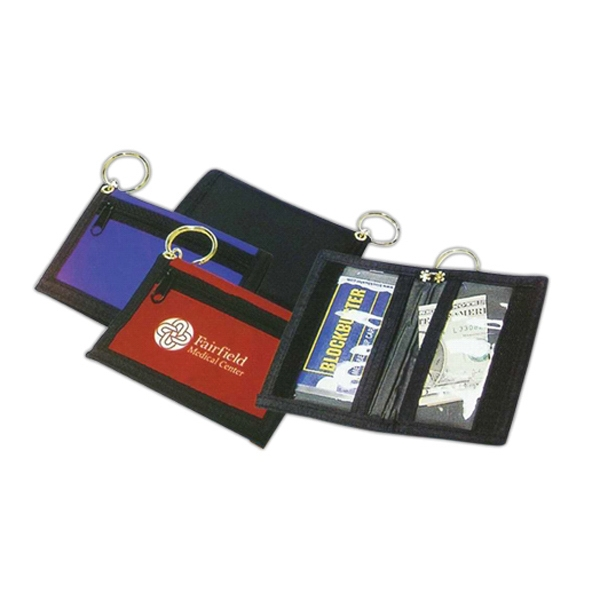 Fine Nylon Bi-fold Wallet With Key Ring Photo