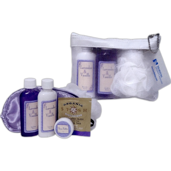 Mesh Case Holds Bath Gel & Lotion, Travel Candle, Almond Soap, & 2 Herbal Teas Photo